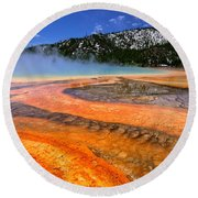 Grand Prismatic Spring Boardwalk View Round Beach Towel