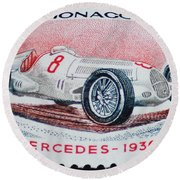 Grand Prix De Monaco 1936 Vintage Postage Stamp Print Round Beach Towel