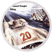 Grand Prix F1 Reims France 1954  Round Beach Towel