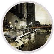 Grand Rapids Grand River Round Beach Towel