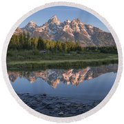 Grand Teton Awakening Round Beach Towel