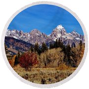 Round Beach Towel featuring the photograph Grand Teton Panorama by Benjamin Yeager