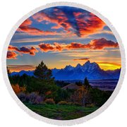 Grand Teton Sunset Round Beach Towel by Greg Norrell