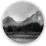 Round Beach Towel featuring the photograph Grand Tetons Bw by Ron White