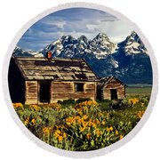 Round Beach Towel featuring the photograph Grand Tetons Cabin by John Haldane