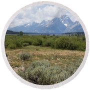 Grand Tetons From Willow Flats Round Beach Towel by Belinda Greb