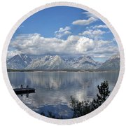 Grand Tetons In The Morning Light Round Beach Towel