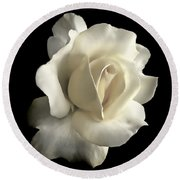 Grandeur Ivory Rose Flower Round Beach Towel