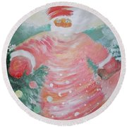 Grandfather Frost Round Beach Towel