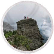 Grandfather Mountain Hikers Round Beach Towel