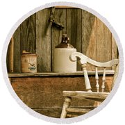 Grandpa's Front Porch Round Beach Towel by Penny Meyers