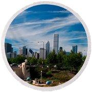 Grant Park Chicago Skyline Panoramic Round Beach Towel
