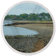Granular Solitude Round Beach Towel