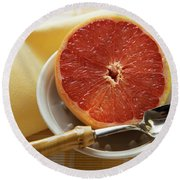 Grapefruit Half With Grapefruit Spoon In A Bowl Round Beach Towel
