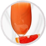 Grapefruit Juice In Glass Round Beach Towel
