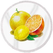 Grapefruit Lemon Orange Round Beach Towel by Irina Sztukowski