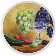 Grapes And Jalapenos Round Beach Towel by Lori Brackett