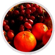 Grapes And Tangerines Round Beach Towel