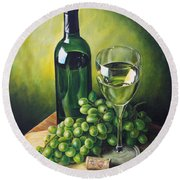 Grapes And Wine Round Beach Towel