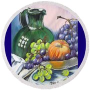 Grapes Galore Round Beach Towel by Marilyn  McNish