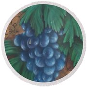 Grapes With Dewdrop Round Beach Towel