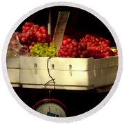 Grapes With Weighing Scale Round Beach Towel
