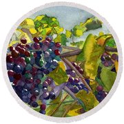 Round Beach Towel featuring the painting Grapevines by Lynne Reichhart
