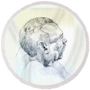Round Beach Towel featuring the drawing Graphite Portrait Sketch Of A Man In Profile by Greta Corens