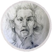 Round Beach Towel featuring the drawing Graphite Portrait Sketch Of A Well Known Cross Eyed Model by Greta Corens