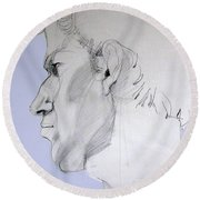 Round Beach Towel featuring the drawing Graphite Portrait Sketch Of A Young Man In Profile by Greta Corens