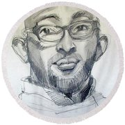 Round Beach Towel featuring the drawing Graphite Portrait Sketch Of A Young Man With Glasses by Greta Corens