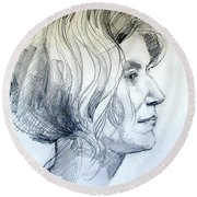 Portrait Drawing Of A Woman In Profile Round Beach Towel