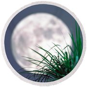 Grass Blades With Full Moon Round Beach Towel