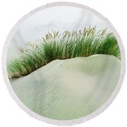 Grass On The Sand Dunes With Fog Round Beach Towel