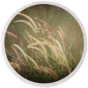 Grasses In Beauty Round Beach Towel
