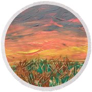 Grassland Sunset Round Beach Towel