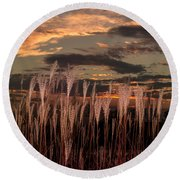 Grassy Sunset Round Beach Towel
