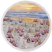 Grateful Holiday Round Beach Towel by Betsy Knapp
