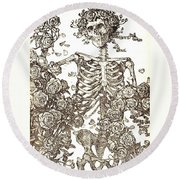 Gratefully Dead Skeleton Round Beach Towel by Kelly Awad
