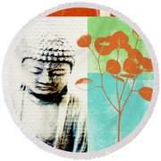 Gratitude Card- Zen Buddha Round Beach Towel