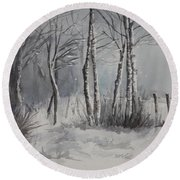 Gray Forest Round Beach Towel