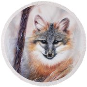 Gray Fox Round Beach Towel by Patricia Lintner