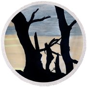 Round Beach Towel featuring the drawing Gray Sunset by D Hackett