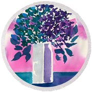 Round Beach Towel featuring the painting Gray Vase by Frank Bright