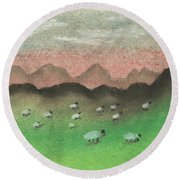 Grazing In The Hills Round Beach Towel