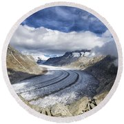Great Aletsch Glacier Swiss Alps Switzerland Europe Round Beach Towel