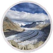 Great Aletsch Glacier Swiss Alps Switzerland Europe Round Beach Towel by Matthias Hauser