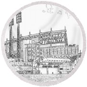 Great American Ball Park Line Round Beach Towel