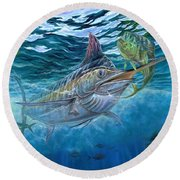 Great Blue And Mahi Mahi Underwater Round Beach Towel