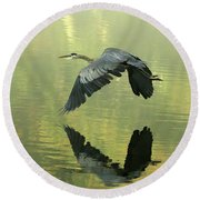 Great Blue Fly-by Round Beach Towel